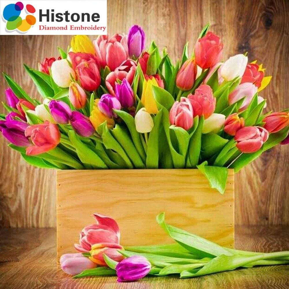 Полный дрель Алмазная вышивка цветы Тюльпан 5D DIY картина, вышитая бисером подарки квадратный холст живопись рукоделие 71157
