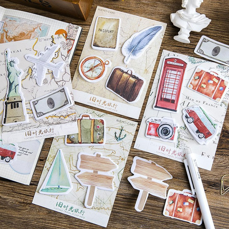 1 pcs Vintage Old time travel series memo pad paper post sticky notes notepad stationery papeleria school supplies kids gifts