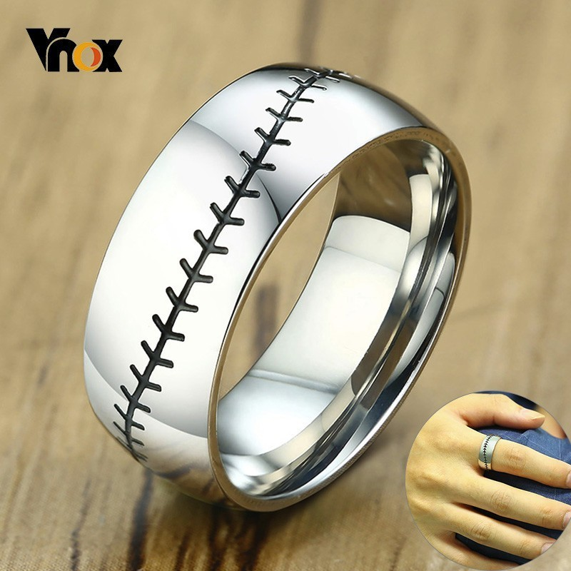 Vnox Baseball Stitch Ring for Men Glossy Stainless Steel Band Casual Male Anel Gym Sports Accesory crucifixo pingente de ouro masculino