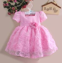 High Quality Baby Christmas Dress Lace Flower Girl Party Dresses Wedding Dress Pink/Purple Retail Free shipping