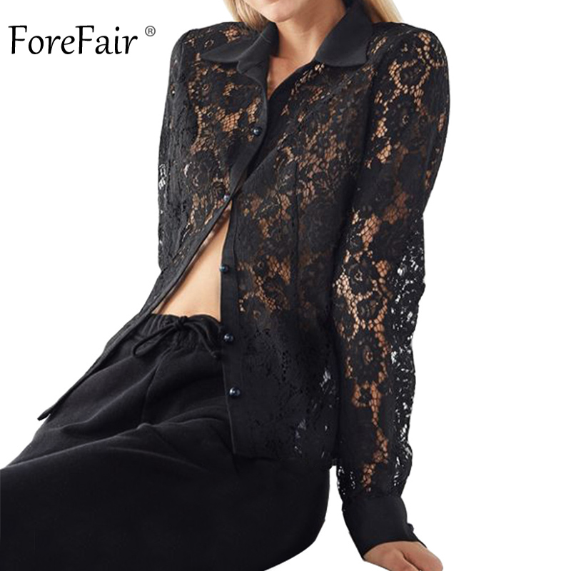 Forefair Women Black Transparent Lace   Blouse     Shirt   Plus Size Button Sexy Elegant Hollow Out Long Sleeve Office Lady   Shirt   Autumn