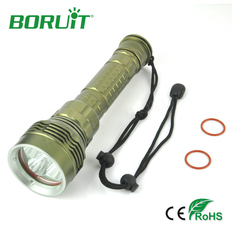 Boruit 9000lm 50W XML L2 5 LED Flashlight Diving Underwater 150m 3-Mode Aluminum Waterproof Torch Lights For Hunting Fishing boruit 2000lm xm l2 led diving flashlight underwater 150m scuba torch light aluminum waterproof camping hunting lantern light