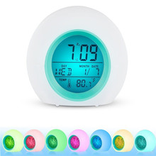 купить Alarm Clock LED Wake Up Light 7 Color Change Digital Clock with Temperature Display & Sound дешево