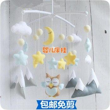 DIY ручной работы нетканые Звезда Луна музыкальная кроватка кровать детская погремушка вращающиеся плюшевые игрушки для новорожденных дете...