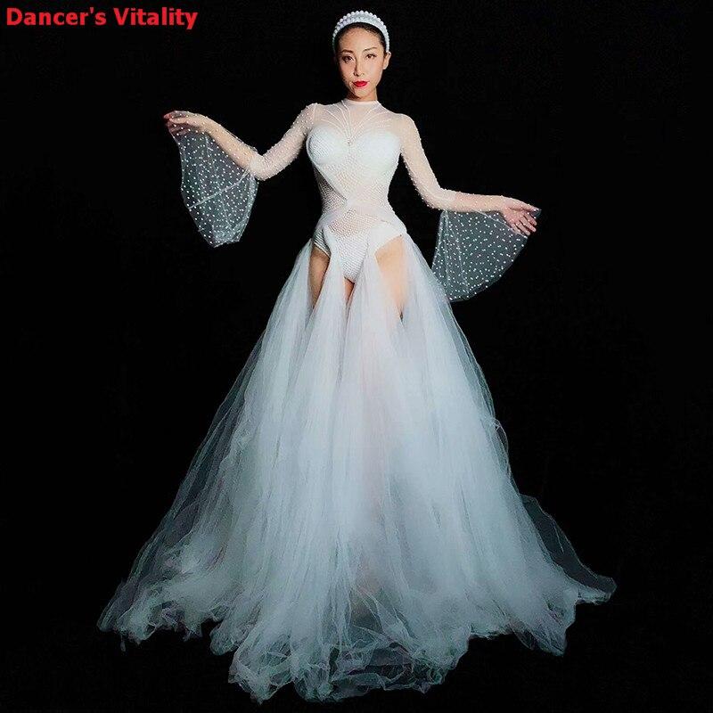 White Rhinestones Bodysuit Leggings DS Costume Female Singer Stage Wear  Mesh Skirt DJ Dance WEAR Party cd4a6c29f680
