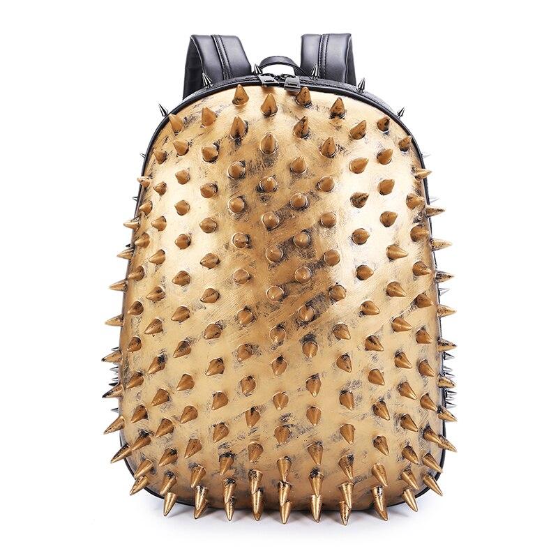 3D Hedgehog Männer Punk Rock Rucksack Mode Laptop Taschen Kühle Mens Schule Tasche Niet Leder Schulter Taschen - 3