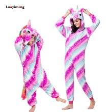 6d7e1da8625 Las niñas traviesas unicornio Rosa Kigurumi pijamas de mono de invierno de  los niños de las mujeres ropa de dormir pijama de uni.