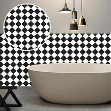 Фотография Black And Withe grid Tile Stickers Kitchen Bathroom Waterproof Self adhesive Wallpaper Kitchen Mosaic Wall Decal Home Decors 3