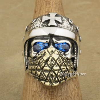 LINSION 925 Sterling Silver Motorcycle Helmet Skull Ring CZ Stone Eyes Brass Mask Mens Biker Rock Punk TA24