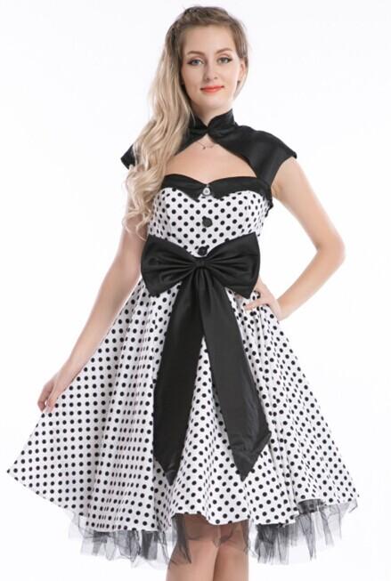 R1019 white rockabilly dress