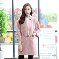 2017 New Loose Style Womens Real Wool Coats Single Button Design Lady Lamb Fur Parka Winter Solid Overcoat 3/4 Sleeve LX00865