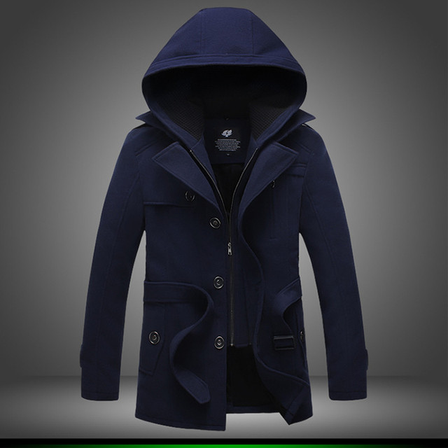 XMY3DWX male winter fashion high-grade single-breasted trench coat/Male pure color cashmere hooded jacket Large size long coat