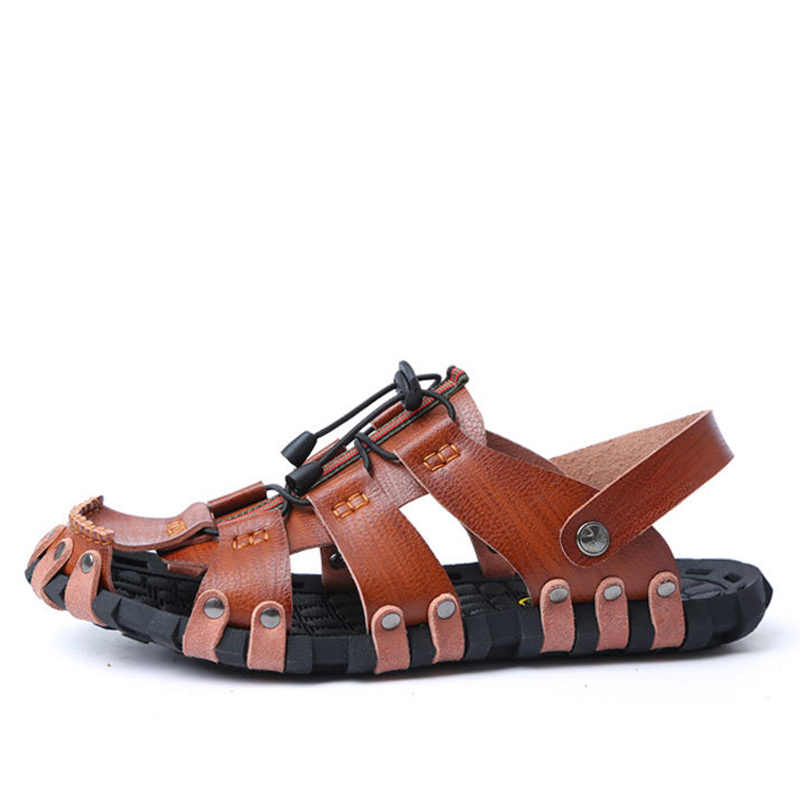 82c33d0251f017 ... OUDINIAO Mens Shoes Split Leather Designer Sandals Summer Slipper Men  Shoes Beach Breathable Elastic Gladiator Slip ...