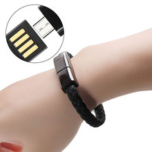 Braided Bracelet Wrist Cable Data Charging Cord for iPhone 7 XS Phone Genuine Leather Charger Cuff USB Type C