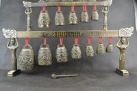 Elaborate Chinese Copper Alloy Carving 12 Bell Dragon Instrument Chime