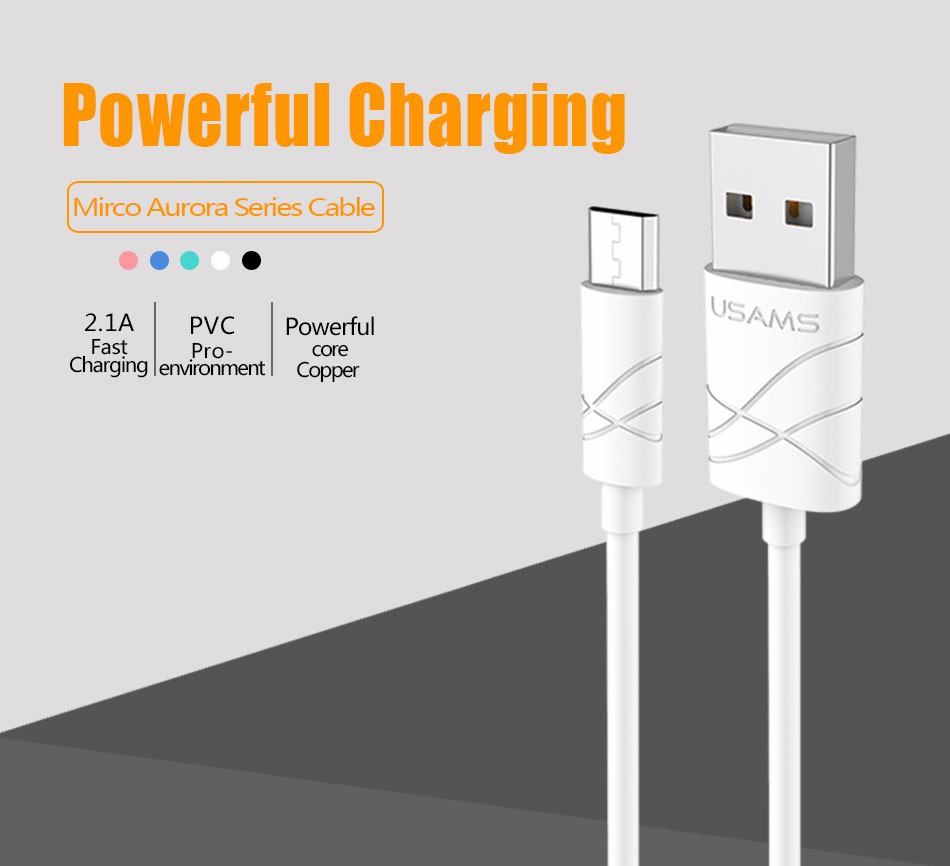 USAMS Micro USB 1m 2A Cable Fast Charging For Android Data USB Cable Mobile Phone Wire For Samsung Sony Phone Charger Cables