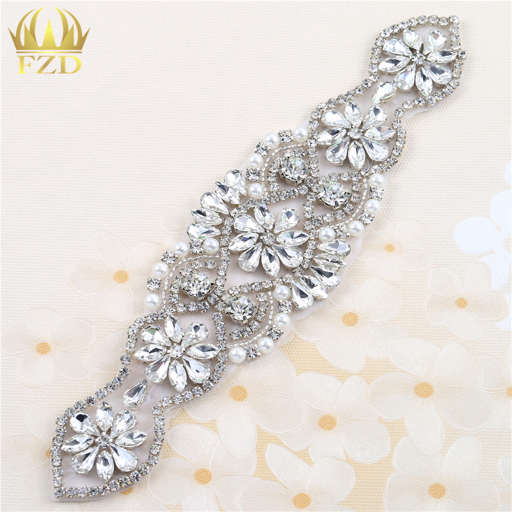 (1piece)Handmade Hot Fix Sew On Beaded Stones and CrystalSliver Bridal Applique for Wedding Sash Headbands Christmas Gift