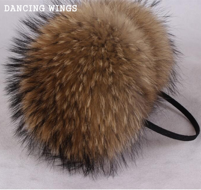 Oversized Real Big Raccoon Fur Earmuffs Lovely Personality Plush Fur Ear Cover Warm Girl's Earflap Winter