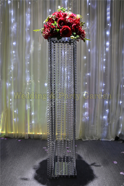100cm H Crystal Wedding Aisle Pillar Flower Stand Road Lead Party Decoration