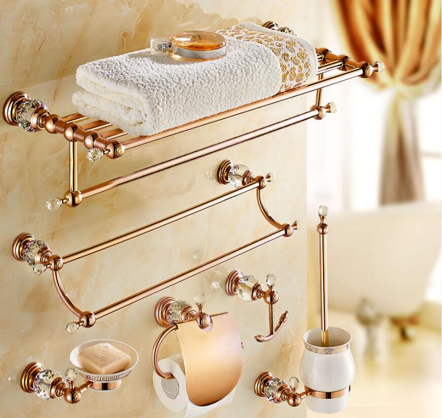 Brass & Diamond Bathroom Accessories Set, Rose Gold Toilet Brush Holder, Paper Holder,Towel Bar,Towel Rack bathroom Hardware set peeter sauter indigo luus kogu moos