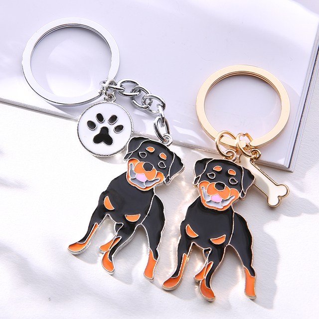 Rottweiler dog pendant key ring  My Pet World Store
