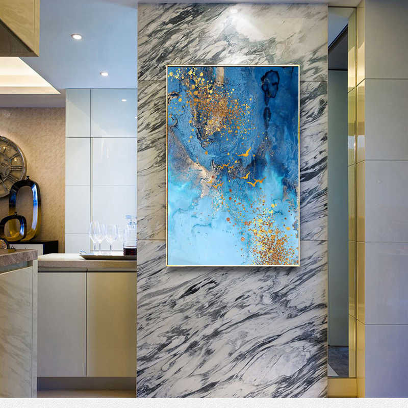 Peinture Decorative Moderne Legere Abstrait Simple Peinture Murale Nordique Avec Mer Bleue Et Sable Dore Aliexpress