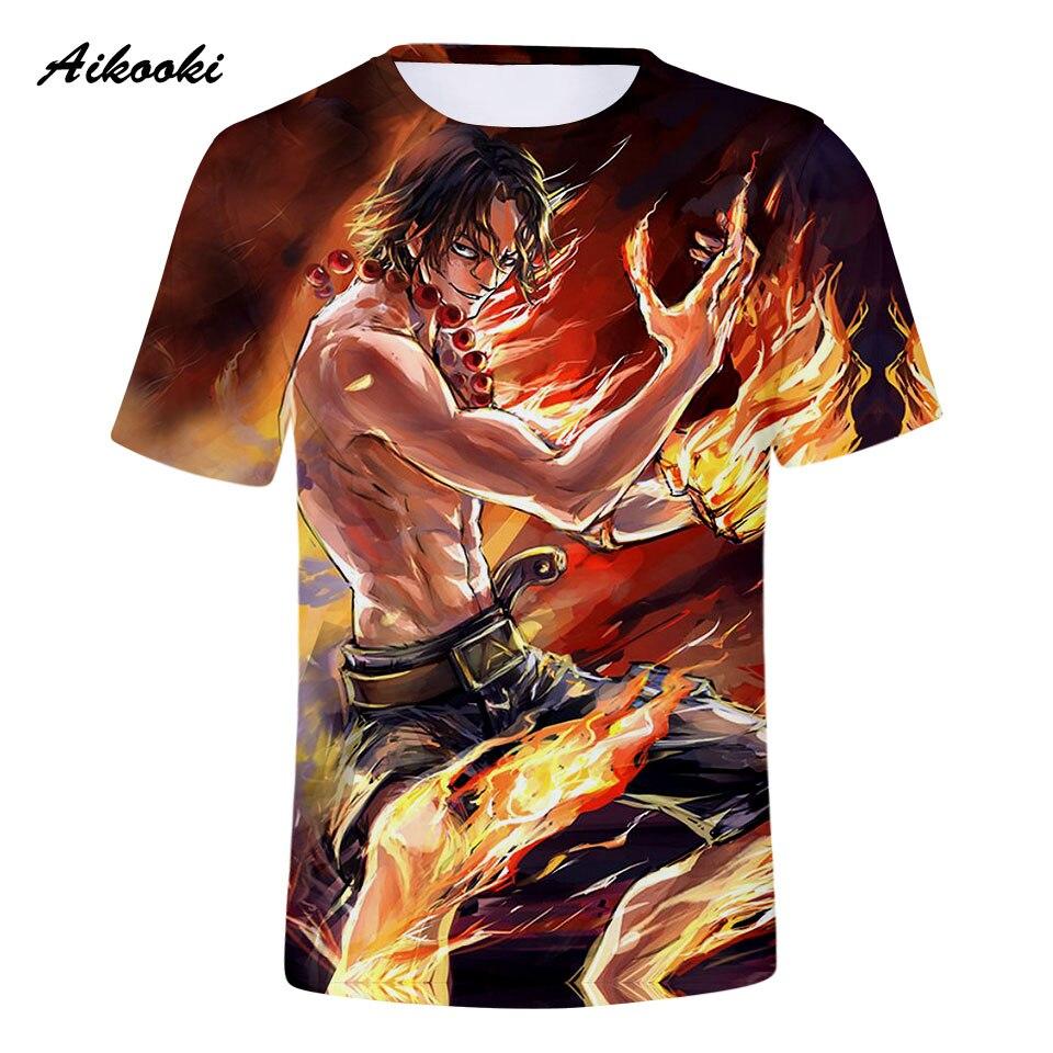 Aikooki ONE PIECE 3D T-shirt Men/Women Tshirt 3D Print Golden Fire Design Tees Tops Boys / Girls T shirt Cool Shirts Top Clothes