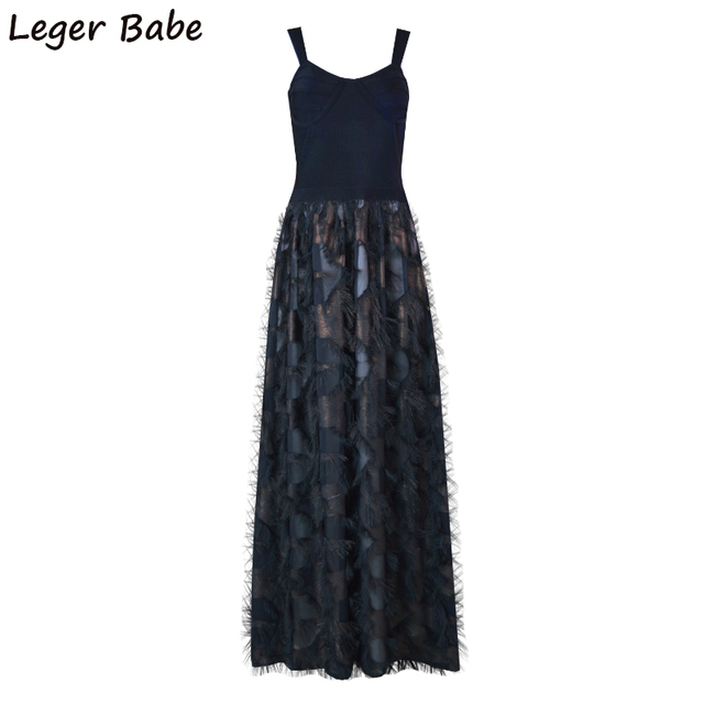 LB0096 Leger Babe 2018 HL Black Feathers Evening Party Spaghetti Strap  Bandage Dress Celebrity Maxi Mermaid 7734ac7ee8bf