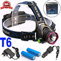 4000 Lumens Headlight LED CREE XML T6 Headlamp Flashlight Zoomable Head Lamp Light + 2*18650 battery + charger + Car Charger