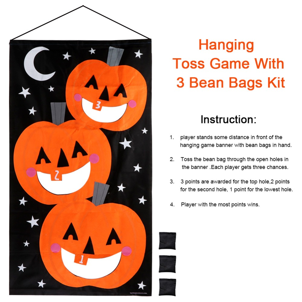 OurWarm Halloween Party Games Hanging Pumpkin Bean Bag Toss Game 3 Bean Bags Kids Toys Outdoor Halloween Decoration Props in Party DIY Decorations from Home Garden