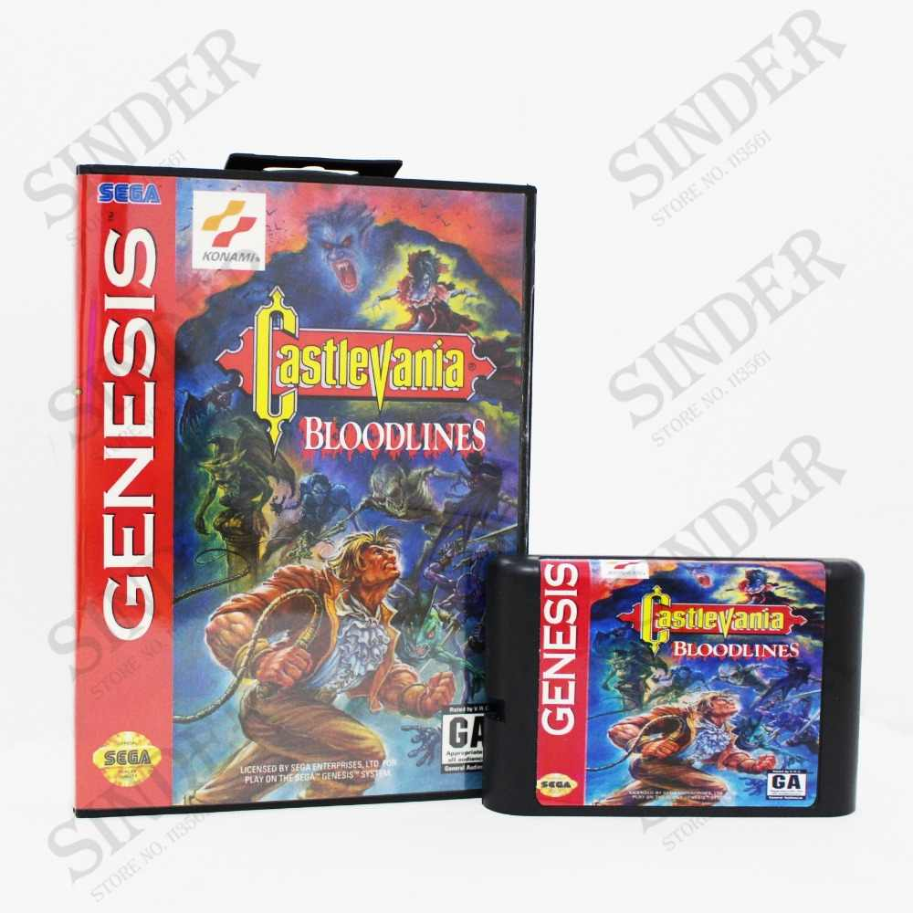 Castlevania Bloodlines NTSC-U Boxed Version 16bit MD Game Card For Sega Mega Drive And Genesis