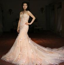 Real Sample Custom Made Sweetheart Elegant Sleeveless Applique Flowers Vintage Wedding Dress Mermaid 2015