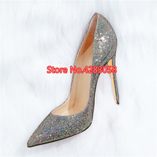 Free shipping fashion women Pumps Glitter Strass point toe high heels 12cm 10cm  8cm party shoes bride wedding shoes недорого