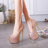 Europe and America sexy stiletto women's shoes 16 cm high heels fashion super high heel shoes waterproof platform single shoes89