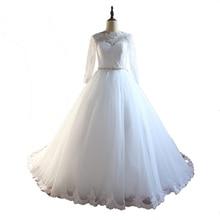 2017 New Design Custom Made Ball Gown Wedding Dresses With Beading Tull Court Train Wedding Gown Vestido De Noiva