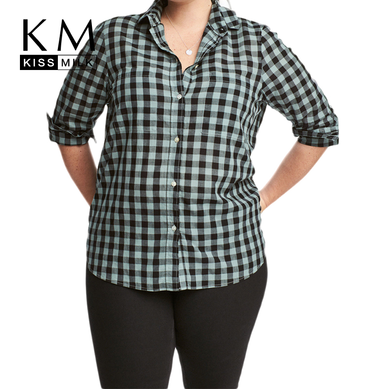 Kissmilk Plus Size Women Button Down Two Pocket Front Shirt Turn Down Collar Plaid Basic Shirt Large Size Casual Loose Shirt