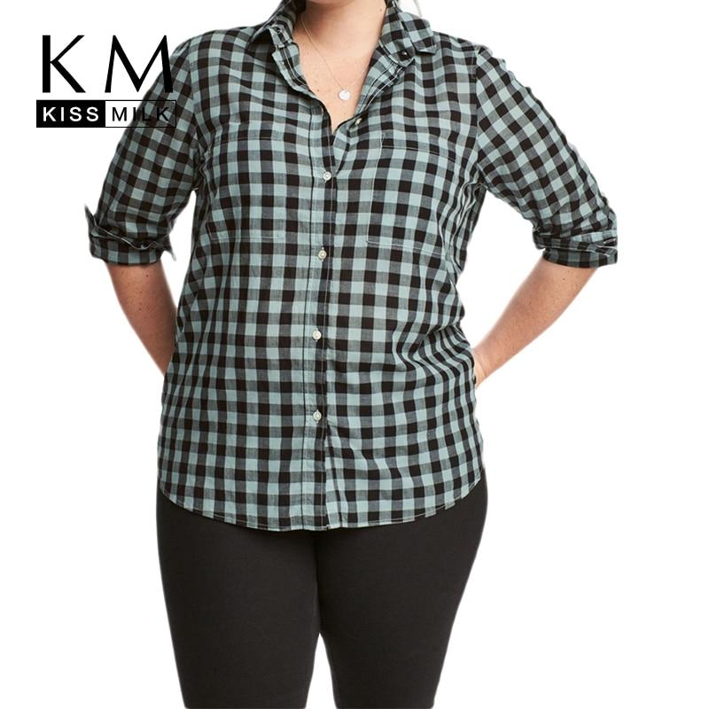 Kissmilk Plus Size Women Button Down Two Pocket Front Shirt Turn Down Collar Plaid Basic Shirt Large Size Casual Loose Shirt