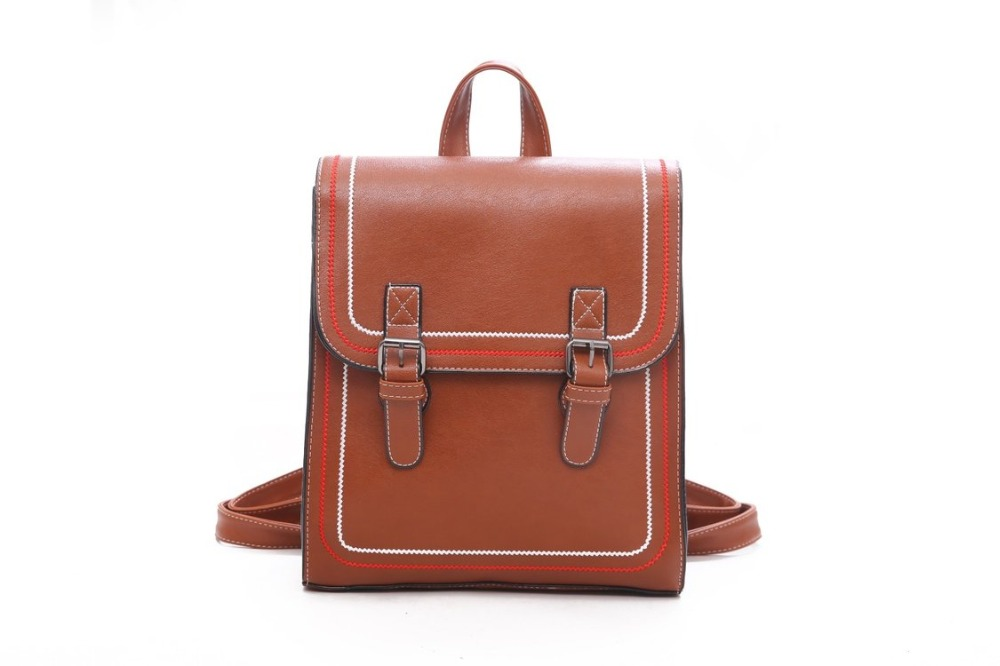 IMOK Brand Laptop Backpack Female 15.8Inch Leather Backpack