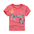 Girls' Summer T-shirts Baby Short-sleeve T-shirt Little Girl Tees Red White Stripe Cotton 1-6 Years Children T-shirt Kid Clothes