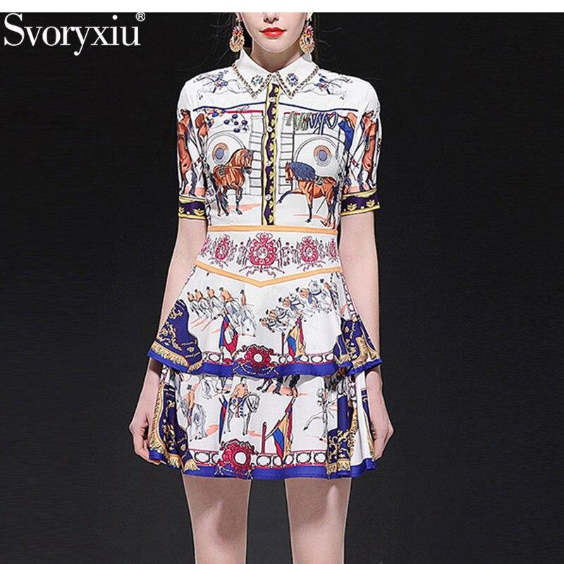 Svoryxiu 2019 New Runway Summer Vintage Printed Dress Women's Short Sleeve Luxury Diamond Ruffles Cake Mini Dresses Vestdios
