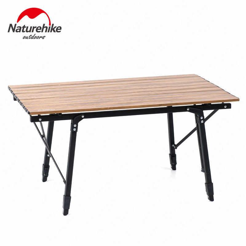 Naturehike 2019 nova cadeira de mesa de acampamento cama de acampamento berço de madeira grão mobiliário de acampamento dobrável cama cadeira de pesca mesa telescópica