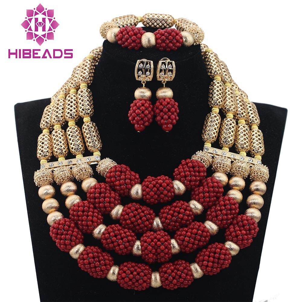 Luxe Rouge/Blanc 4 couches De Perles De Corail Ensemble De Bijoux Africain De Mariage Or Mélanger Vin Collier Africain Accessoire Gratuit ShippingABH038