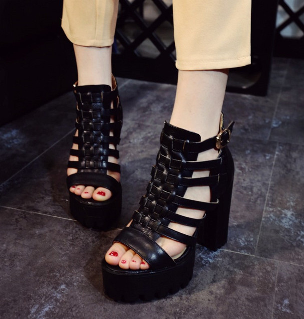 bb8ba28f850c PXELENA Punk Rock Gothic Gladiator Sandals Women Retro T-Strap Square Chunky  Block High Heels Platform Sandals Female Shoes Hot