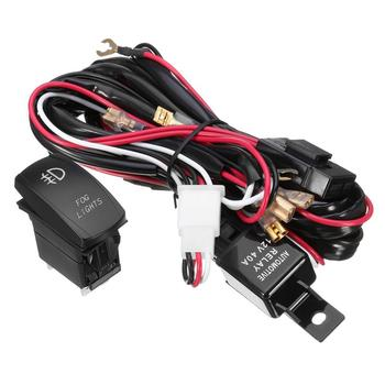 12V 5 Pins Car Rocker Switch Wiring Harness 300W Push Button with Relay and Fuse (Red and Blue Light) 12v 24v relay harness control cable for h4 hi lo hid bulbs wiring controller