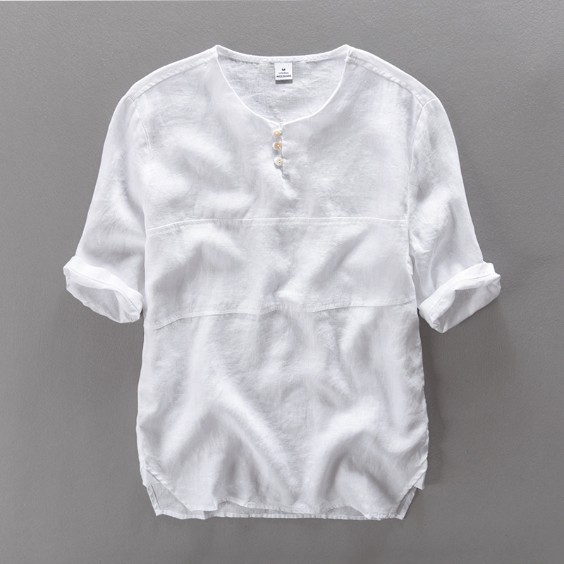 Compare Prices on Mens White Collarless Shirt- Online Shopping/Buy ...