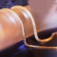 4 Sizes Available Real 925 Sterling Silver 2 4MM Wide Box Chain Necklace Women Men Jewelry