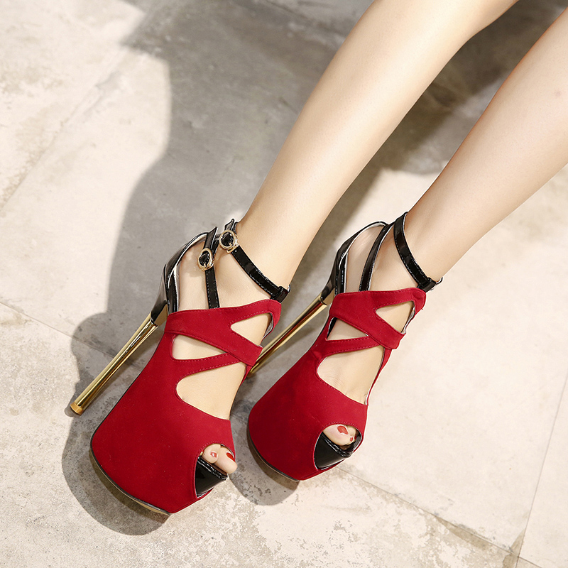 16cm High Heel Sandals Sexy Thin Heel Cross Strap Buckle Party Shoes Fashion 7cm Platform High Heels Black Sandals Red Shoes