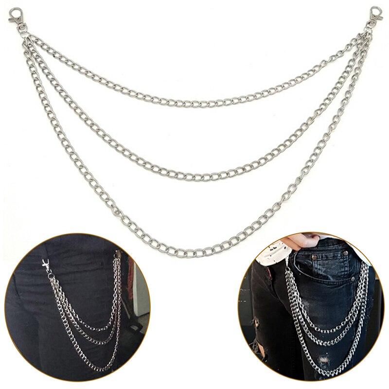 Hot! 1Layer/2Layer/3Layer Rock Punk Hook Trousers Pant Waist Link   Belt   Chain Metal Wallet Silver Chain Fashion Men Women Jewelry