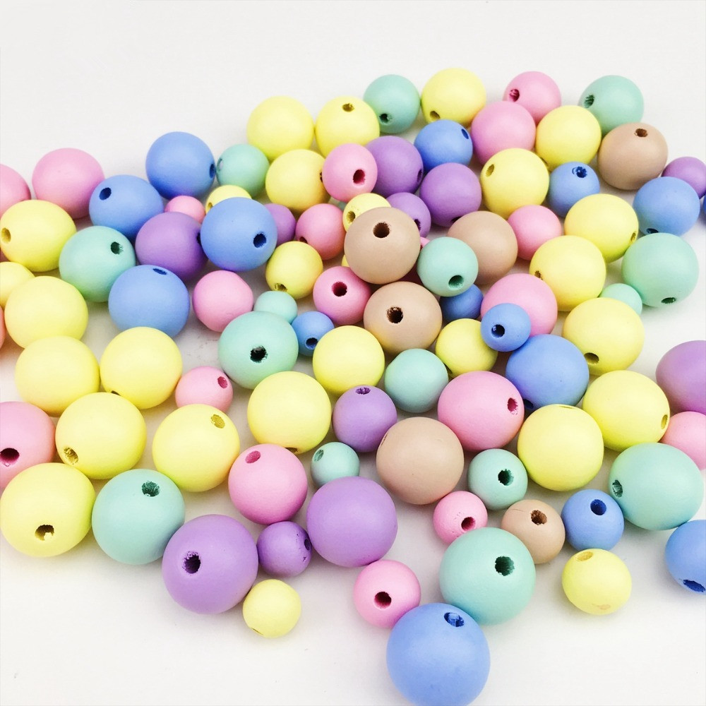 Candy Color Wooden Beads 400Pcs 12-20mm Mix Environmental Kids Room DIY Wood Bead Garland  Wall Decorations Accessories Teether