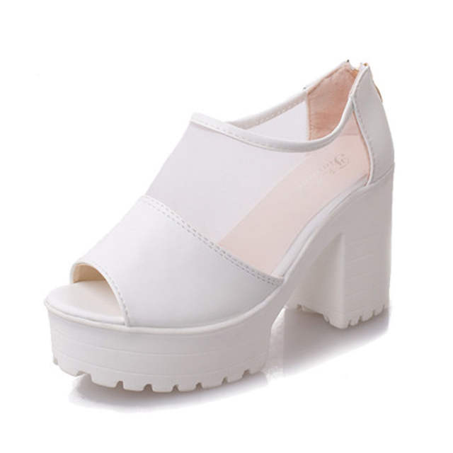 4f6728beac3a 2018 HOT popular Summer Sandals Lace Casual Block Heels Mesh Platform Wedge Peep  Toe Korean Sexy